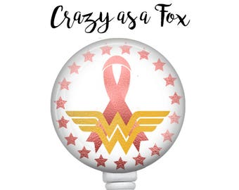 Wonder Woman Breast Cancer Awareness Pink Ribbon Retractable Badge Holder, Badge Reel, Lanyard, Stethoscope ID Tag, rn cna md pa gift