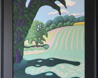 Ramsey's Hill. Located outside of Wilmington, DE, a great sledding hill. Oil on canvas hand made.