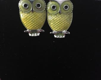 Yellow Owl fishhook earrings