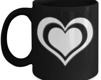Double Heart - Cute High Quality Cute Black & White Ceramic 11 oz or 15 oz Mug - Love Valentine's Day Mother's Day Mom Wife Girlfriend Gift