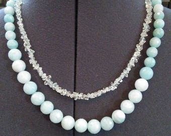 Topaz and Amazonite double strand necklace