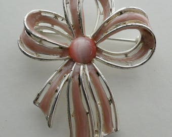 Vintage Silver Tone Pink Stone & Enamel Bow Knot Pin Brooch