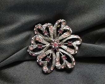 Vintage Pink & Purple Silver Tone Costume Jewelry Flower Rhinestone Brooch Pin 1928 Style