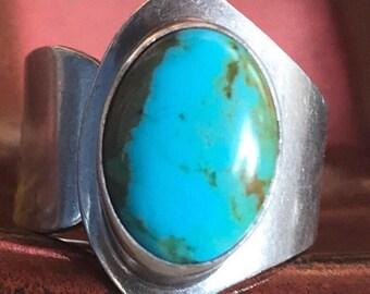 Vintage Native American Adjustable Navajo Sterling Silver Turquoise Ring Signed MJ