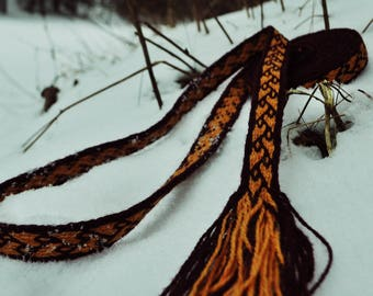 Tablet weave, Viking belt, yellow and purple colors wool, clothing accessory, reenactment, unique detail in modern clothing