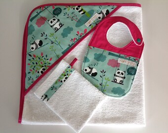 bath 80/80 cm baby, glove and bib
