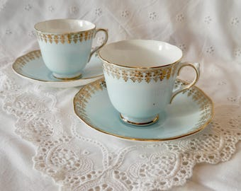 2 Pale blue bone china coffee cups and saucers, English bone china cups and saucers,