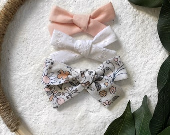 3 Pack Spring Floral Doodle Bows Classic Hand Tied Bow Bows Nylon or Clip