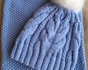 Set knit winter cap with fur pompom/scarf  Merino wool Y-Z KNITS