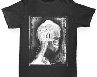 Boys Funny T Shirt X-Ray Headphones Boy's T-Shirt