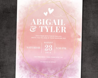 Wedding Invitation, Wedding Invitation with Matching RSVP and Other Information Card, Watercolor Wedding Invitation, Floral Wedding Invite