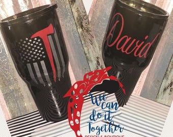 Tumbler and painted Fireman Tumbler // 20 oz or 30oz Ozark Trail Tumbler // First Responder Cup // Firefighter Gift // Personalized Tumbler