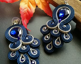 Elegant Deep Blue Crystal Soutache Peacock Earrings Statement Dangle Ethnic Boho Chic Blue and Silver Earrings