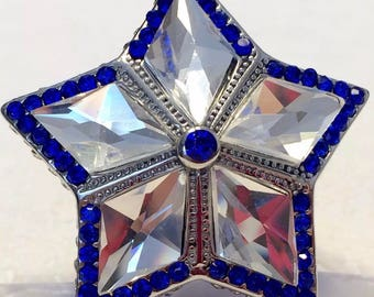 Simulated White Sapphire Star Ring, Blue Austrian Crystals Ring, Dallas Cowboys Star Ring, Statement Ring