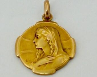 Art Nouveau gold french religious pendant.