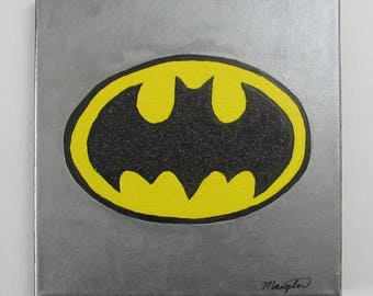 "Batman Logo Canvas Acrylic Wall Art Painting 10"" x 10"""