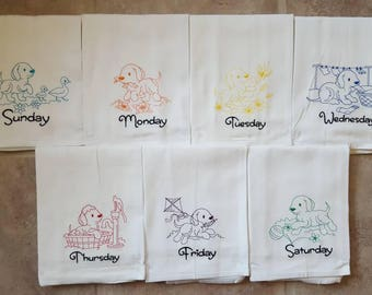 Colored Dogs Days of the Week Embroidered Flour Sack Dish Towels