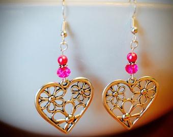 Valentine Earrings, Heart Earrings, Silver Heart Earrings, Valentine Gifts, Valentines Gifts