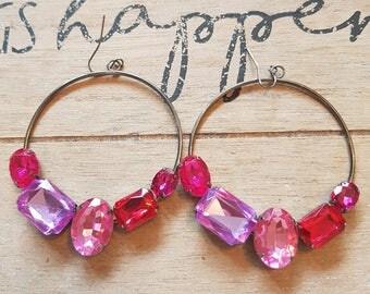 Beautiful pink chunky gem hoop earrings