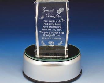 3D Glass Laser Cube - Granddaughter Poem