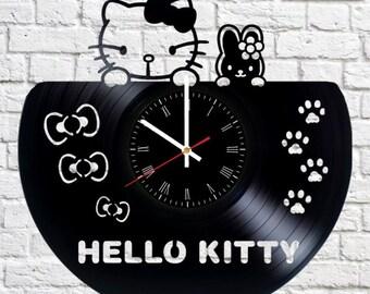 Pretty Kitty Vinyl Clock Handmade Home Bedroom Living Kids Room Nursery  Wall Decor Gifts Idea For