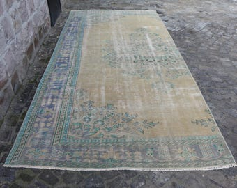 Free Shipping Area Rug 5.5 x 12 ft. Rare Turkish Wool Rug Muted Color Handknotted Rug Bohemian Rug Shaven Rug Low Pile Rug Runner Rug MB123