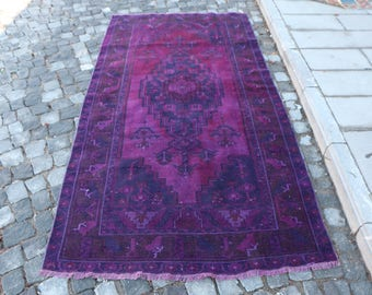 Purple Color Overdyed Rug Free Shipping 4.1 x 8.2 ft. unique color rug, turkish rug, decorative rug, bright color rug, bathroom rug, MB309