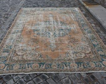 Free Shipping pale colored large floor rug 7.4 x 10.8 ft. handmade turkish rug, area rug, bohemian decor rug, oushak rug,tribal rug, MB360