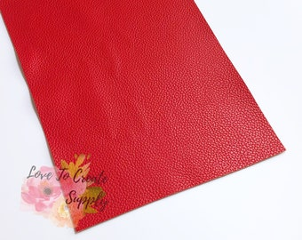 Red texturized faux leather