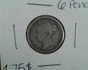 1869 Great Britain 6 Pence Ultra Rare