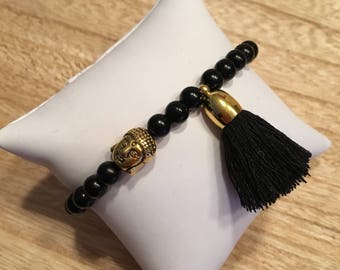 Simple Buddha and black elastic bracelet