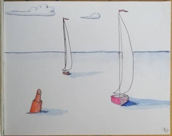 Racing for the Turn, a whimsical sailboat drawing.