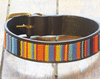 African Sunset Beaded Dog collar (Size: L)