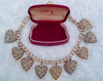 Beautiful victorian revival filigree heart book chain necklace