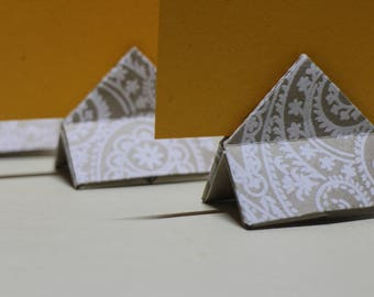 Handmade Origami Card Holders made from hand-stamped indian paper - Name tags - Wedding table names - All natural