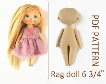 "Rag doll PDF 6 3/4"" Cloth doll PDF Interior doll epattern Interior doll PDF Easy rag doll pattern Girldoll pdf Fabric doll pdf Soft doll pdf"
