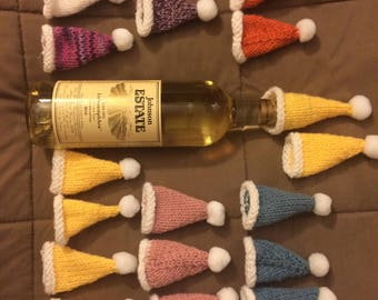 Little bottle topper hats! Knit w/Pom-pom