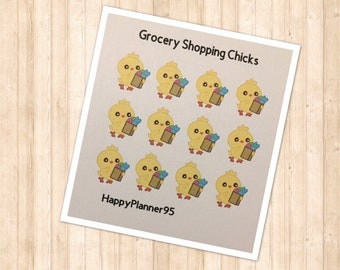 Grocery shopping chick stickers