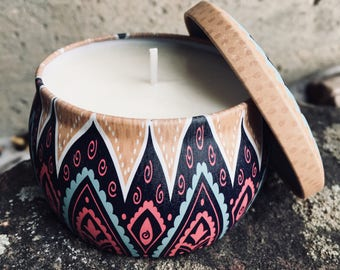 Colorful Boho Soy Candle Tin