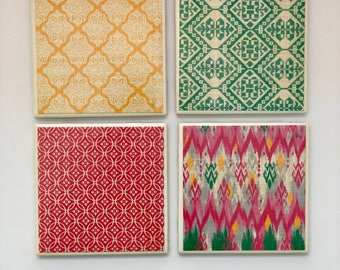 Pink, Green, and Yellow Decorative Tile Coaster Set (Set of 4)