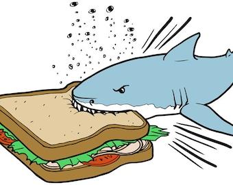 Shark Eating Sandwich Digital Vector Illustration