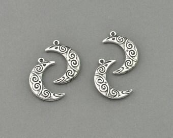 Antique Silver Tone Ornate Moon Charm (AS00-0024)