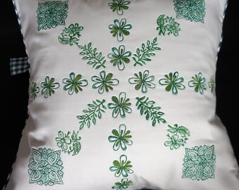 Pair of Cushions, Block Print, Hand Printed, Square Cushion, Green and Cream