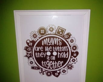 Large 'mums are like buttons they hold everything together' frame