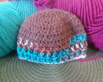 Preemie Sized Beanie, Turquoise Copper Mix Boho Style Handmade Crochet Hat