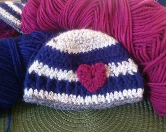 Striped Blue Crochet Beanie For Baby/ Newborn Hat With Heart/ Handmade