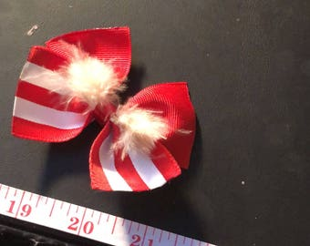 Striped Hair Bow with Feathers