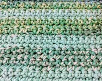 Sea Blue Variegated Striped 100% Cotton Dishcloth or Washcloth