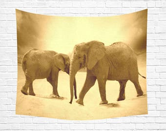 "Elephants Wall Tapestry 60""x 51"" (3 colors)"
