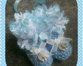 Brand new hand knitted pram charm bootees in blue